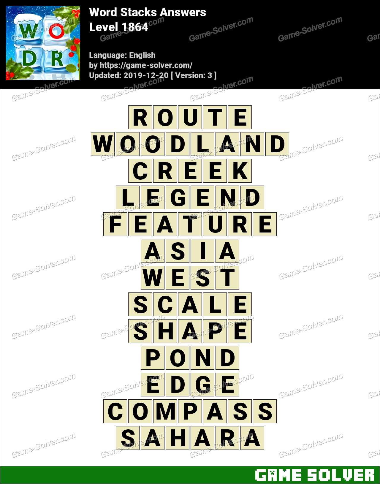 Word Stacks Level 1864 Answers