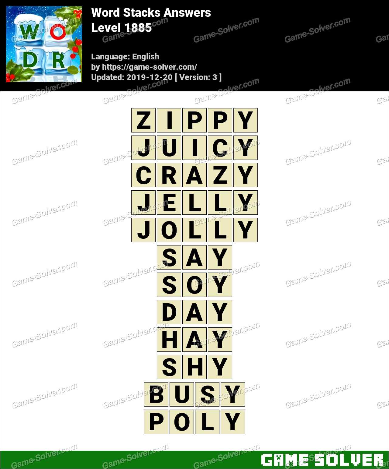 Word Stacks Level 1885 Answers