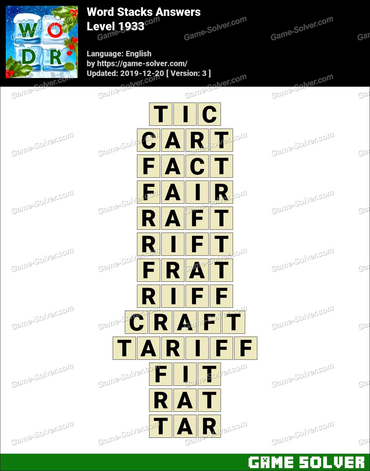 Word Stacks Level 1933 Answers