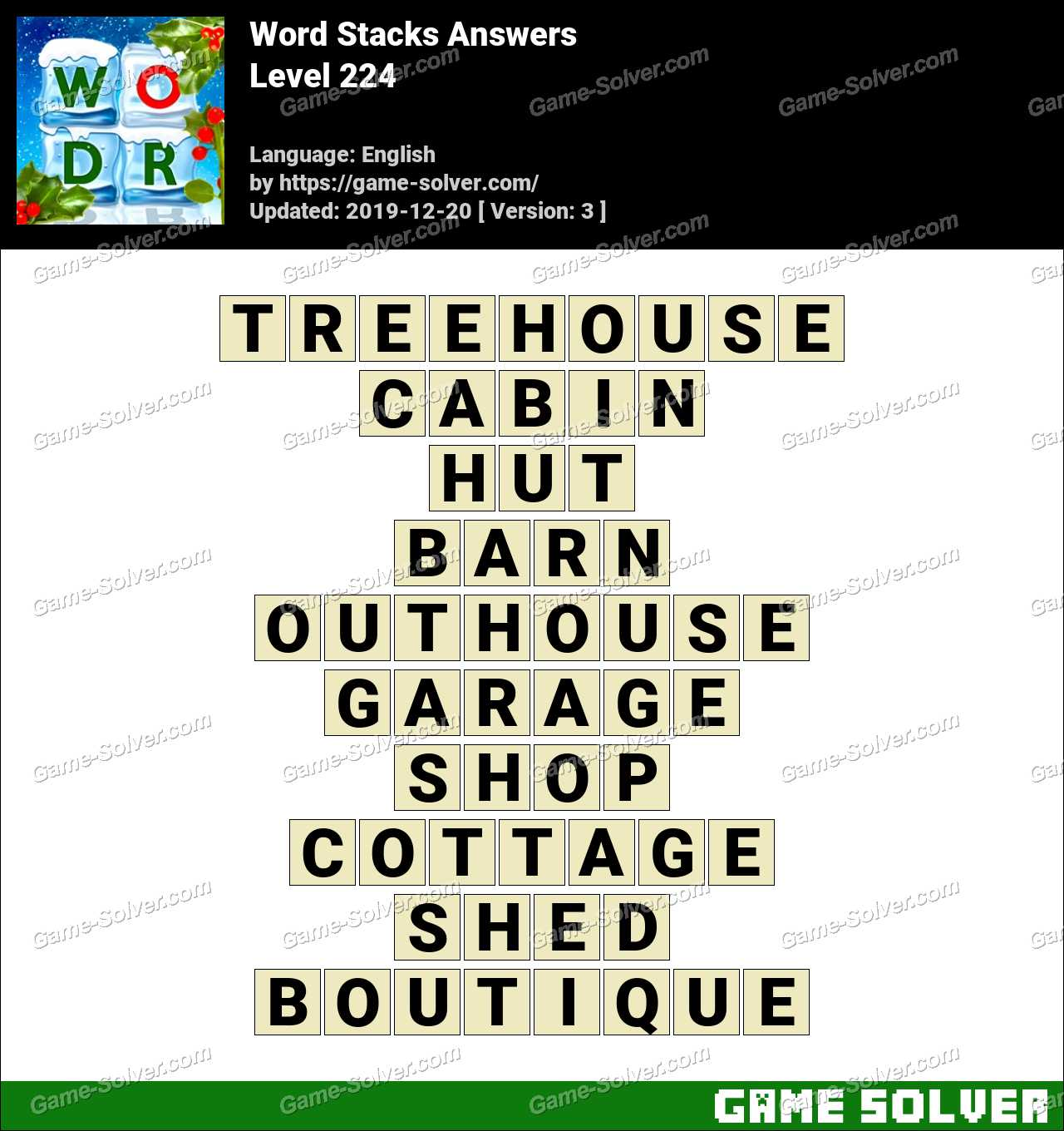 Word Stacks Level 224 Answers