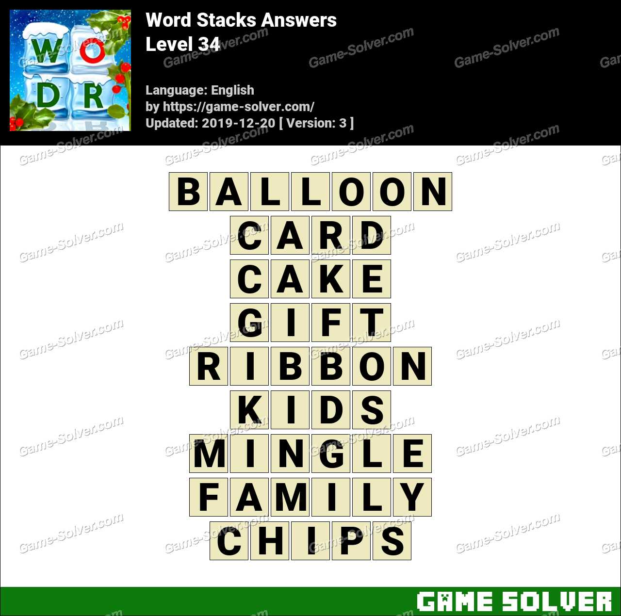 Word Stacks Level 34 Answers