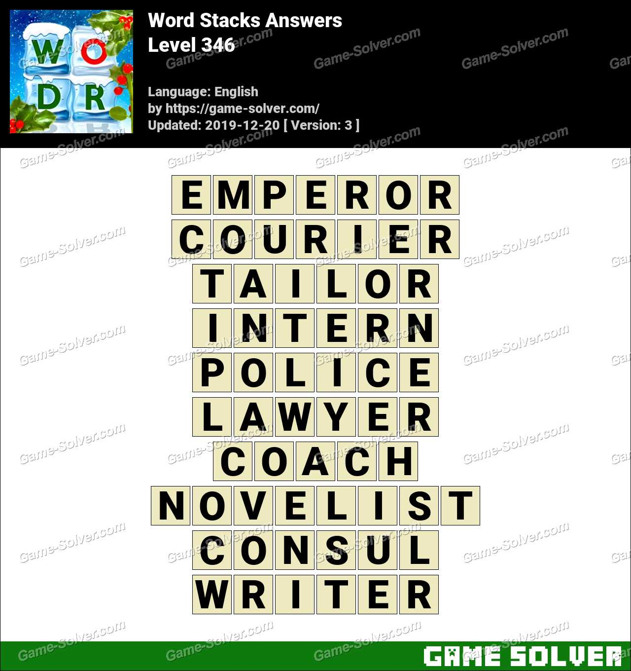 Word Stacks Level 346 Answers