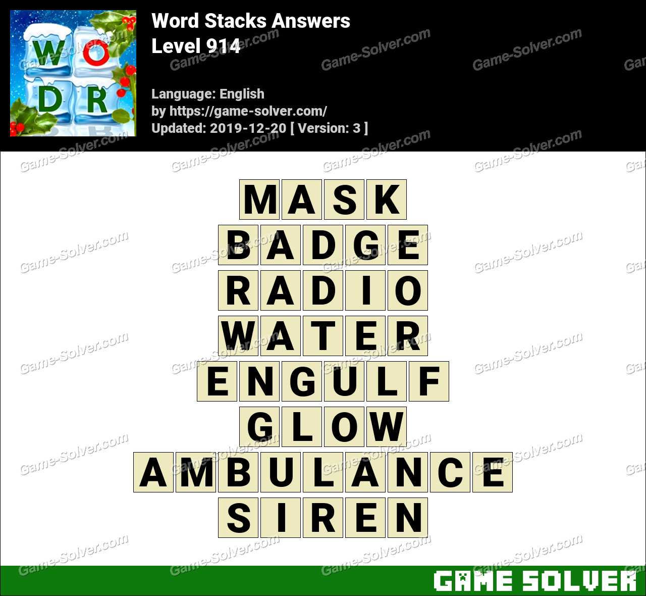Word Stacks Level 914 Answers