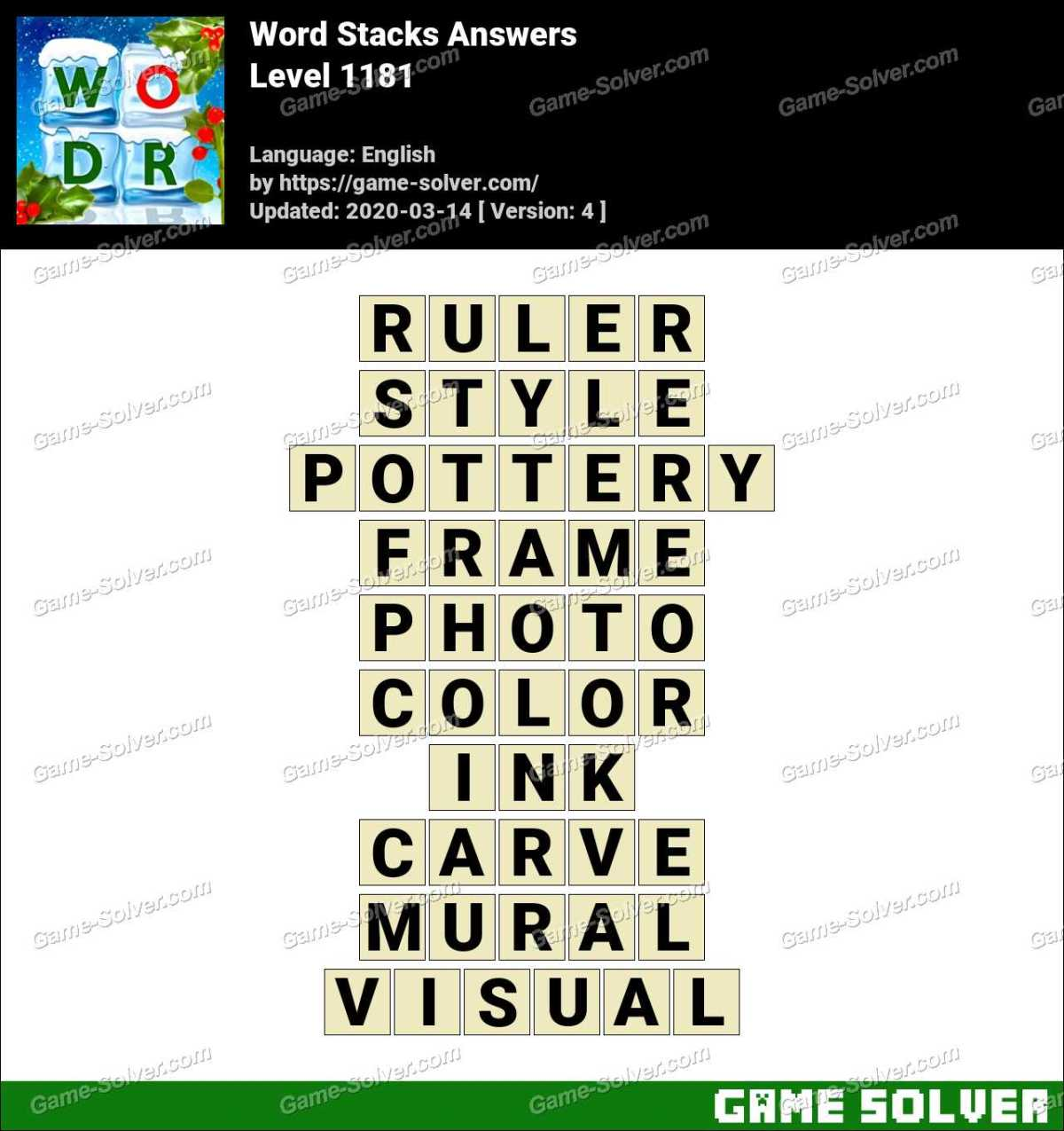 Word Stacks Level 1181 Answers