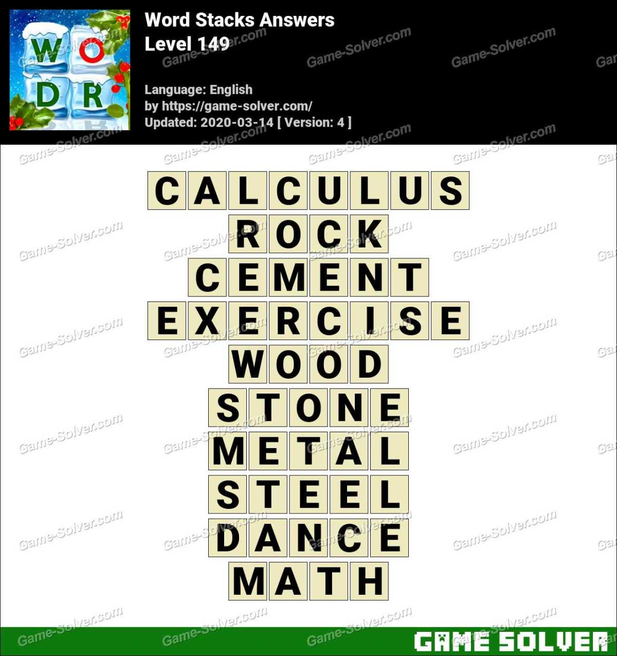 Word Stacks Level 149 Answers