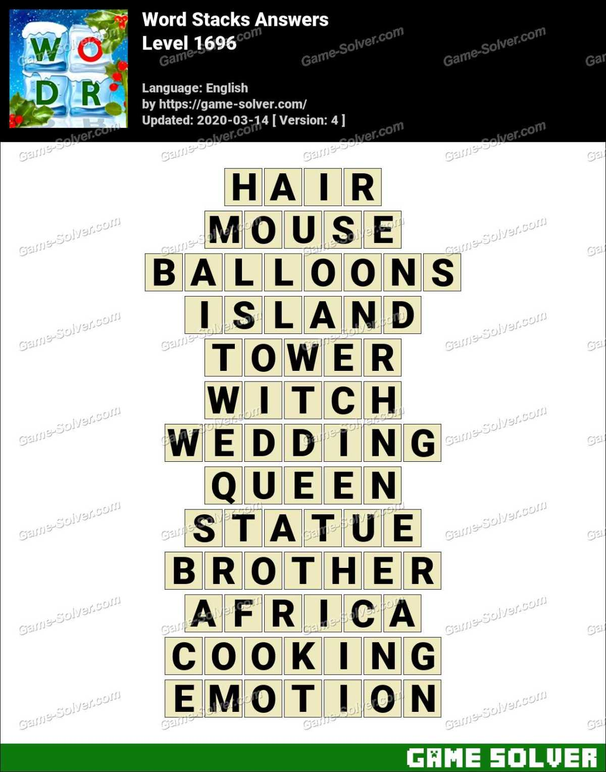 Word Stacks Level 1696 Answers