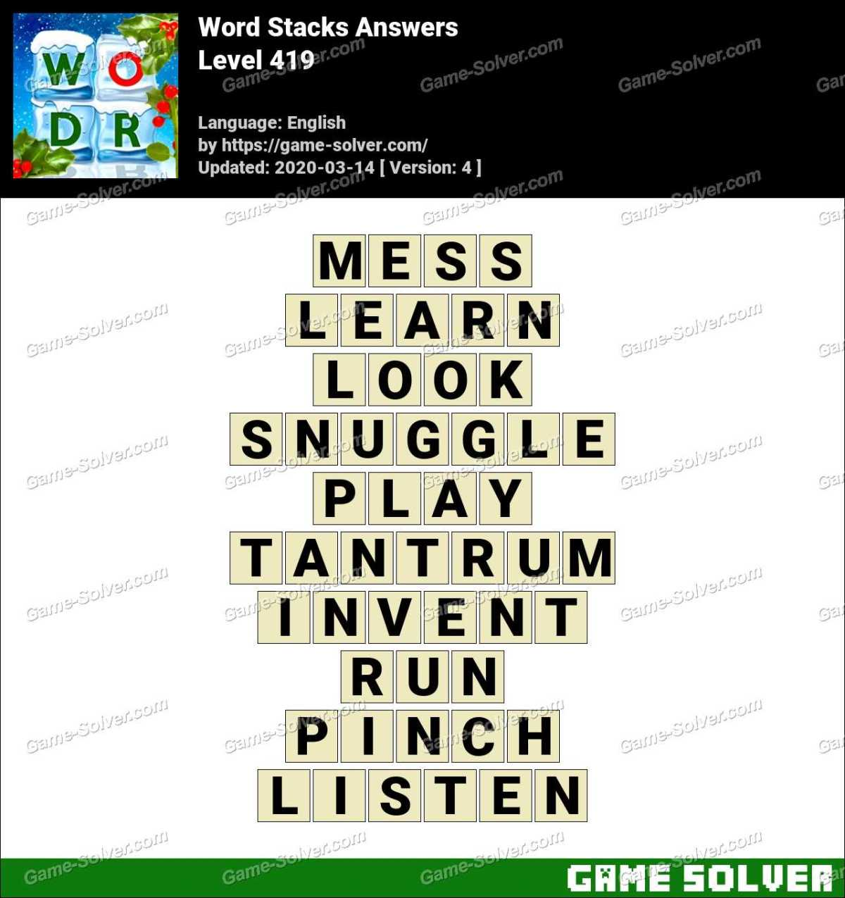 Word Stacks Level 419 Answers