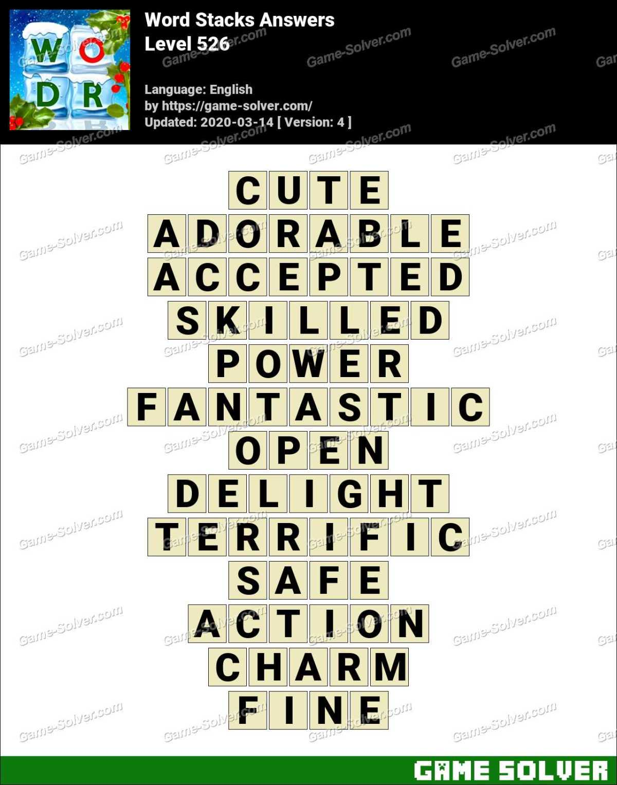 Word Stacks Level 526 Answers