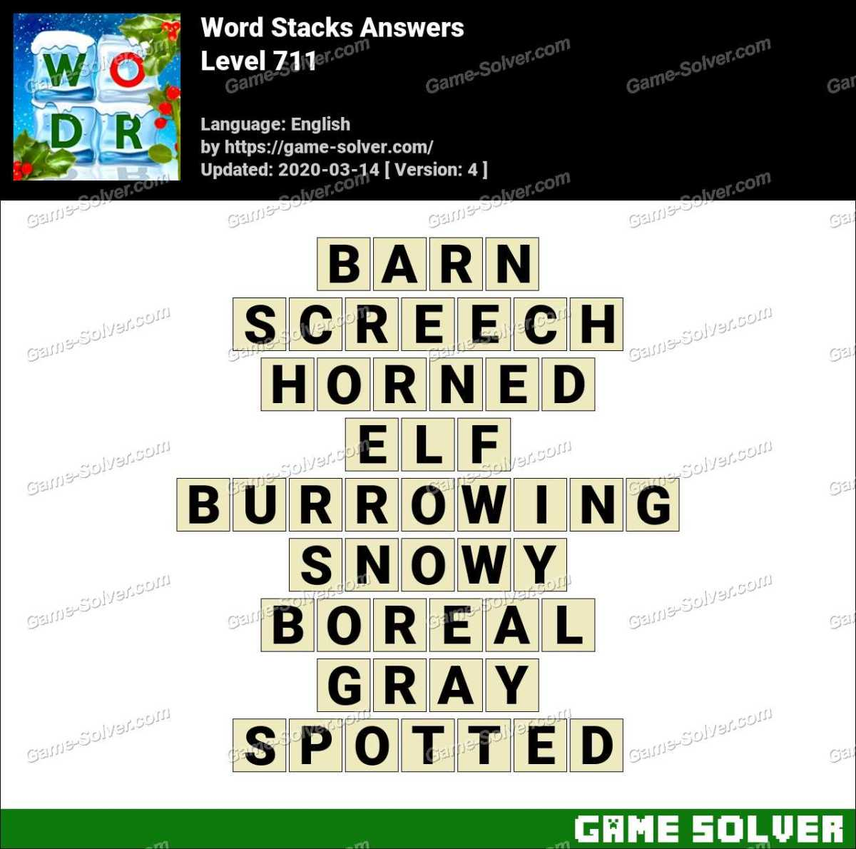 Word Stacks Level 711 Answers