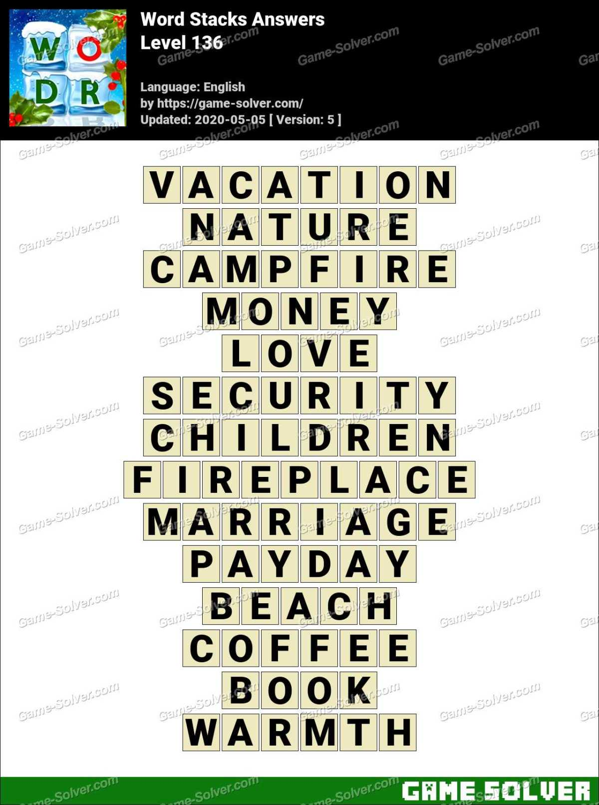 Word Stacks Level 136 Answers Game Solver