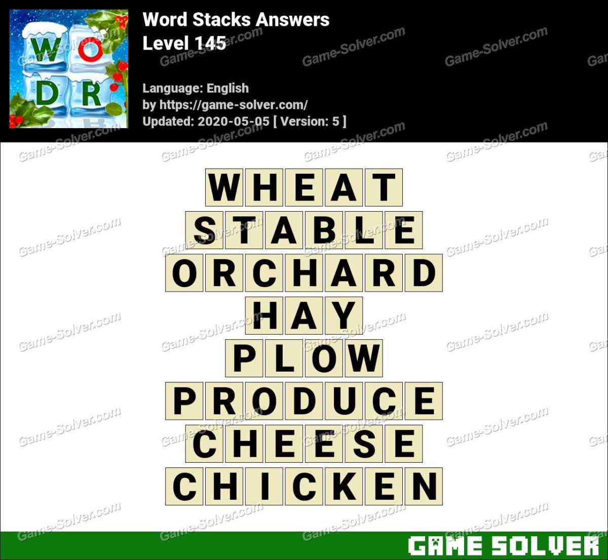 Word Stacks Level 145 Answers Game Solver