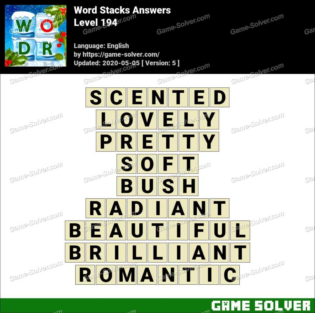 Word Stacks Level 194 Answers Game Solver