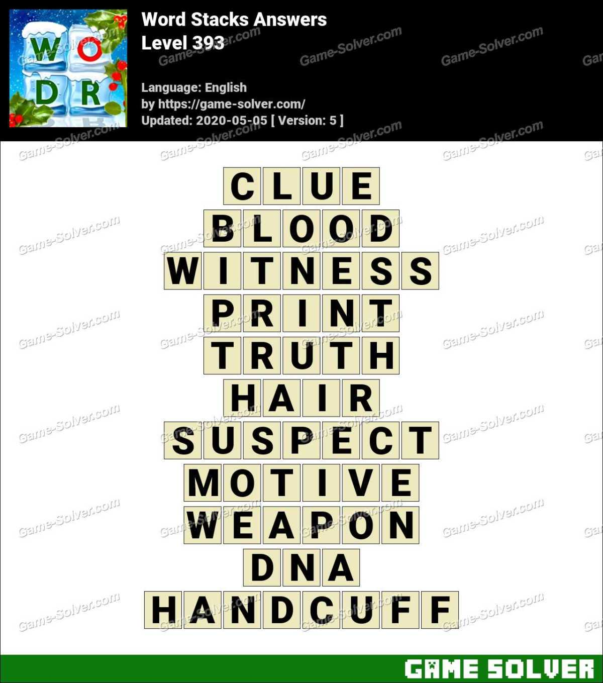 Word Stacks Level 393 Answers