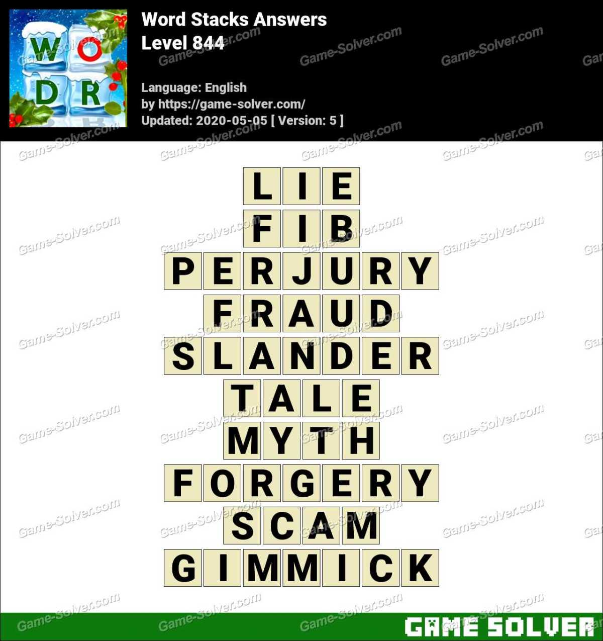 Word Stacks Level 844 Answers
