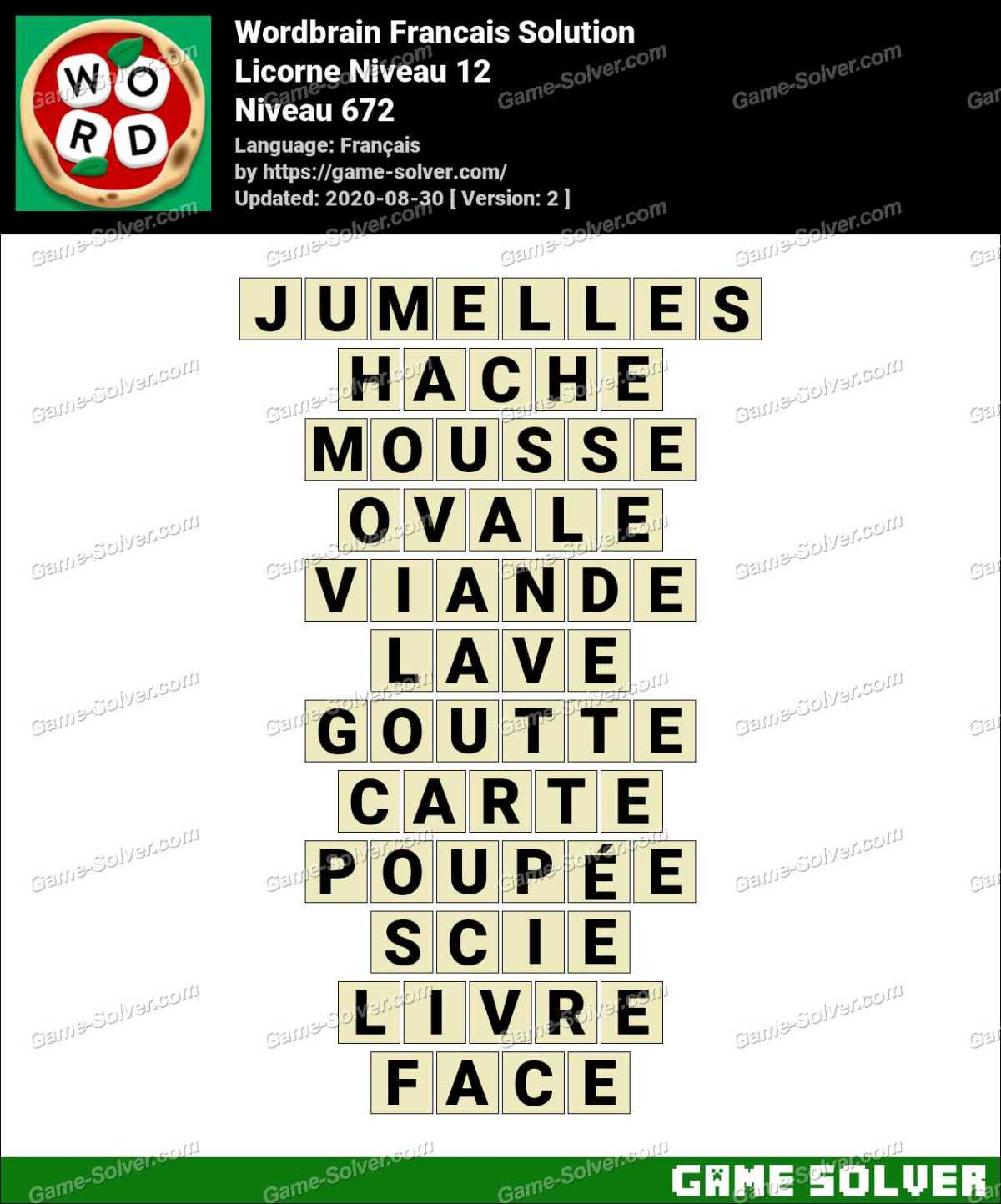 WordBrain Français Licorne Niveau 12