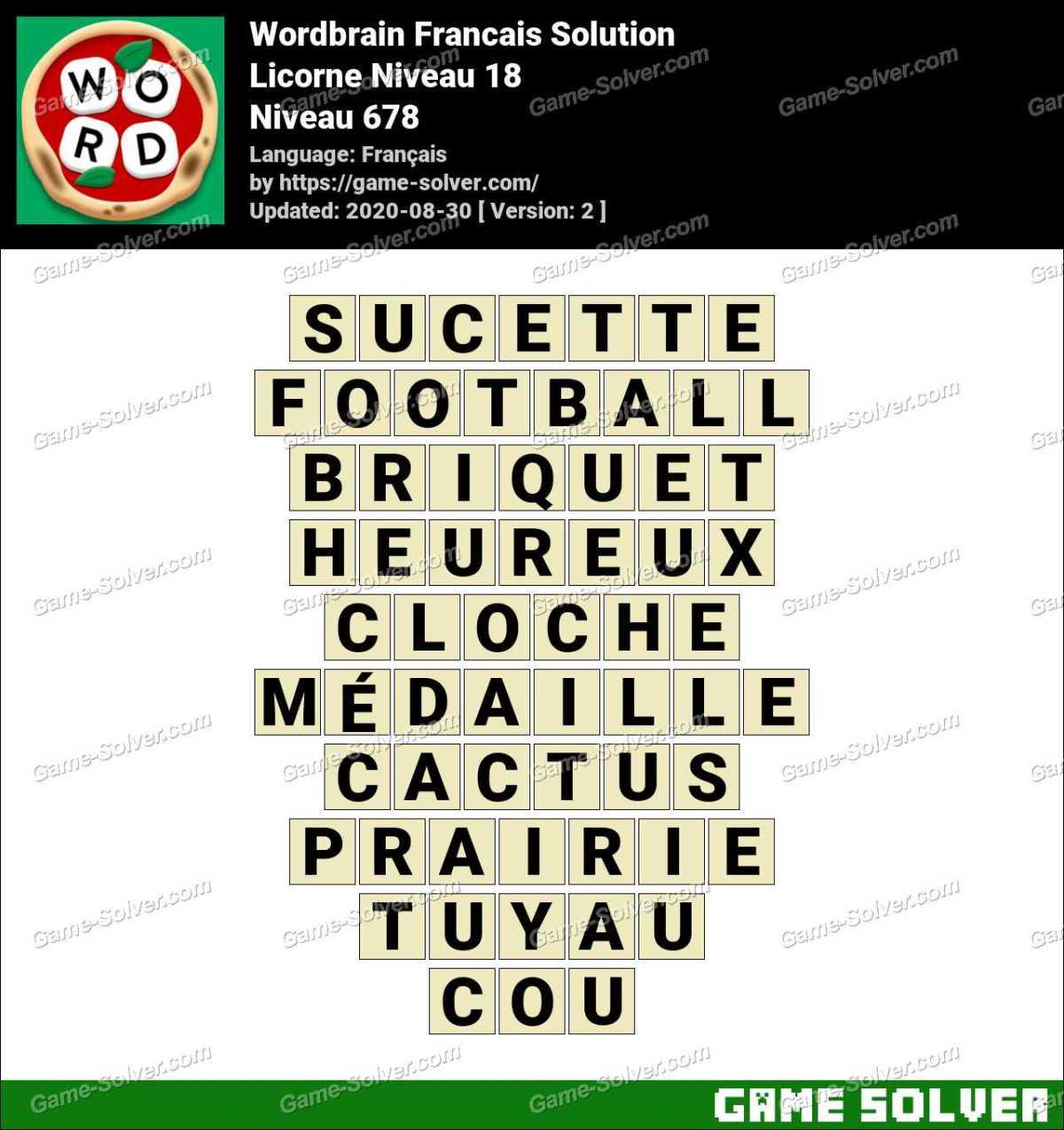 WordBrain Français Licorne Niveau 18