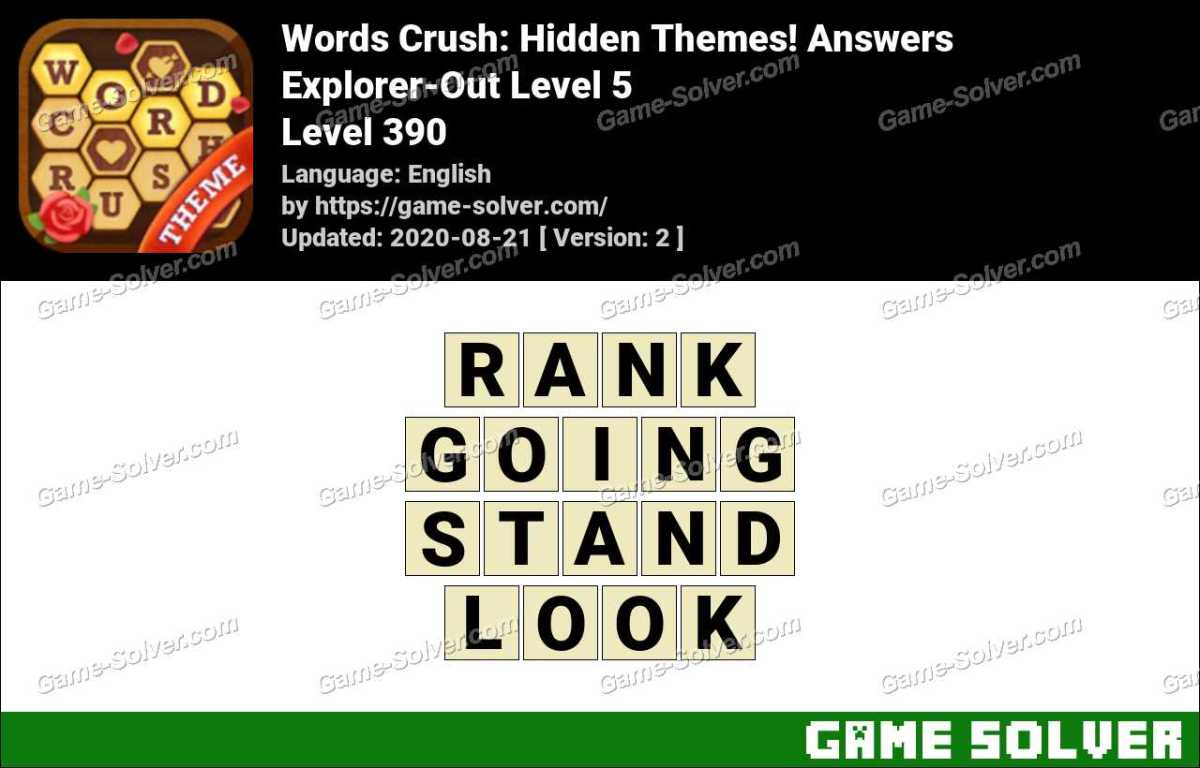 Words Crush Explorer-Out Level 5 Answers