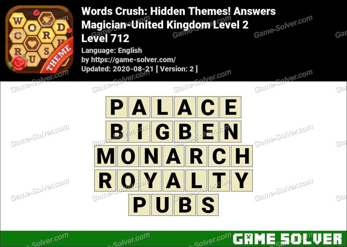 Words Crush Magician-United Kingdom Level 2 Answers