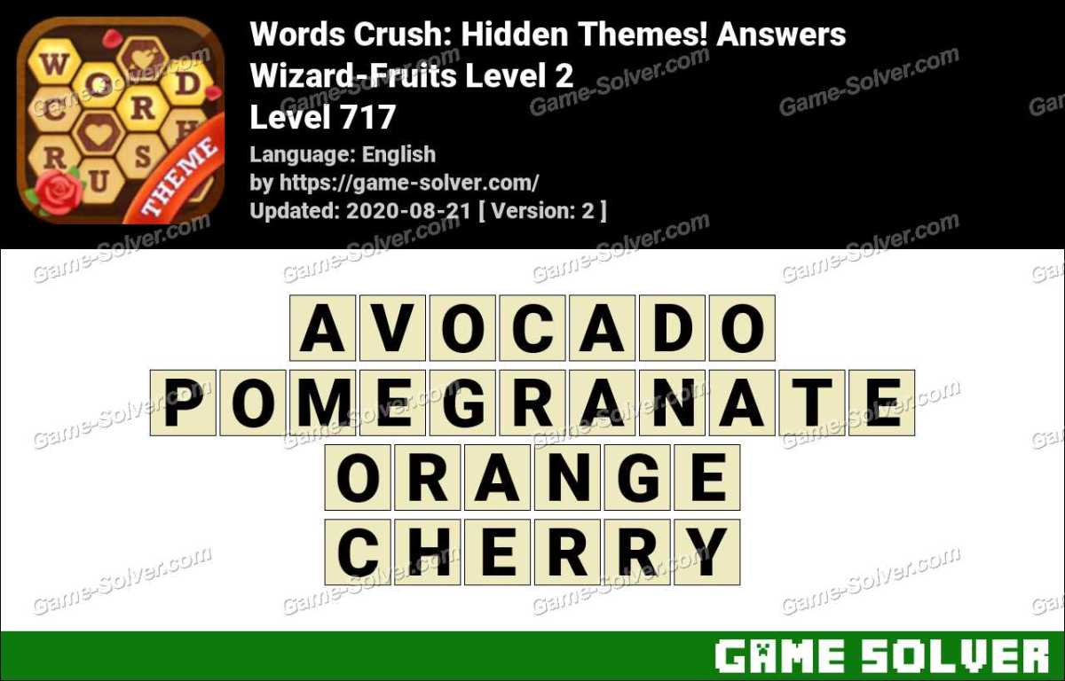 Words Crush Wizard-Fruits Level 2 Answers