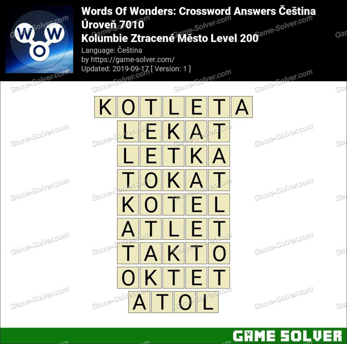 Words Of Wonders Kolumbie Ztracené Město Level 200 Answers