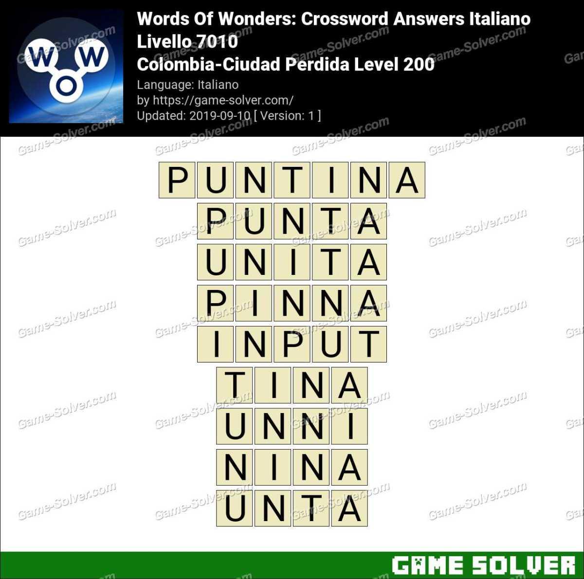 Words Of Wonders Colombia-Ciudad Perdida Level 200 Answers