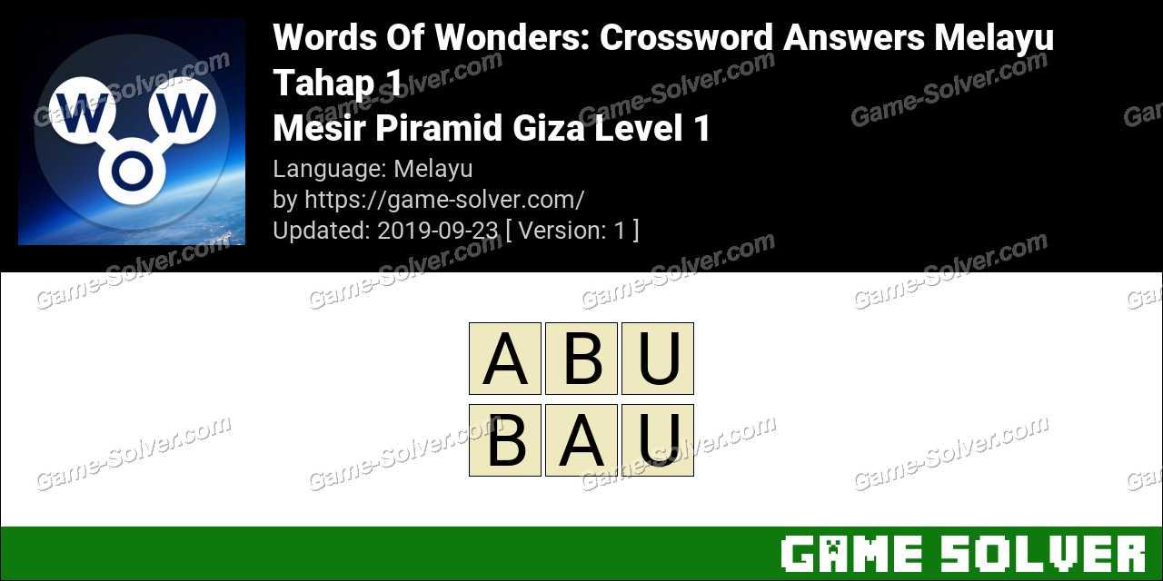 Words Of Wonders Mesir Piramid Giza Level 1 Answers