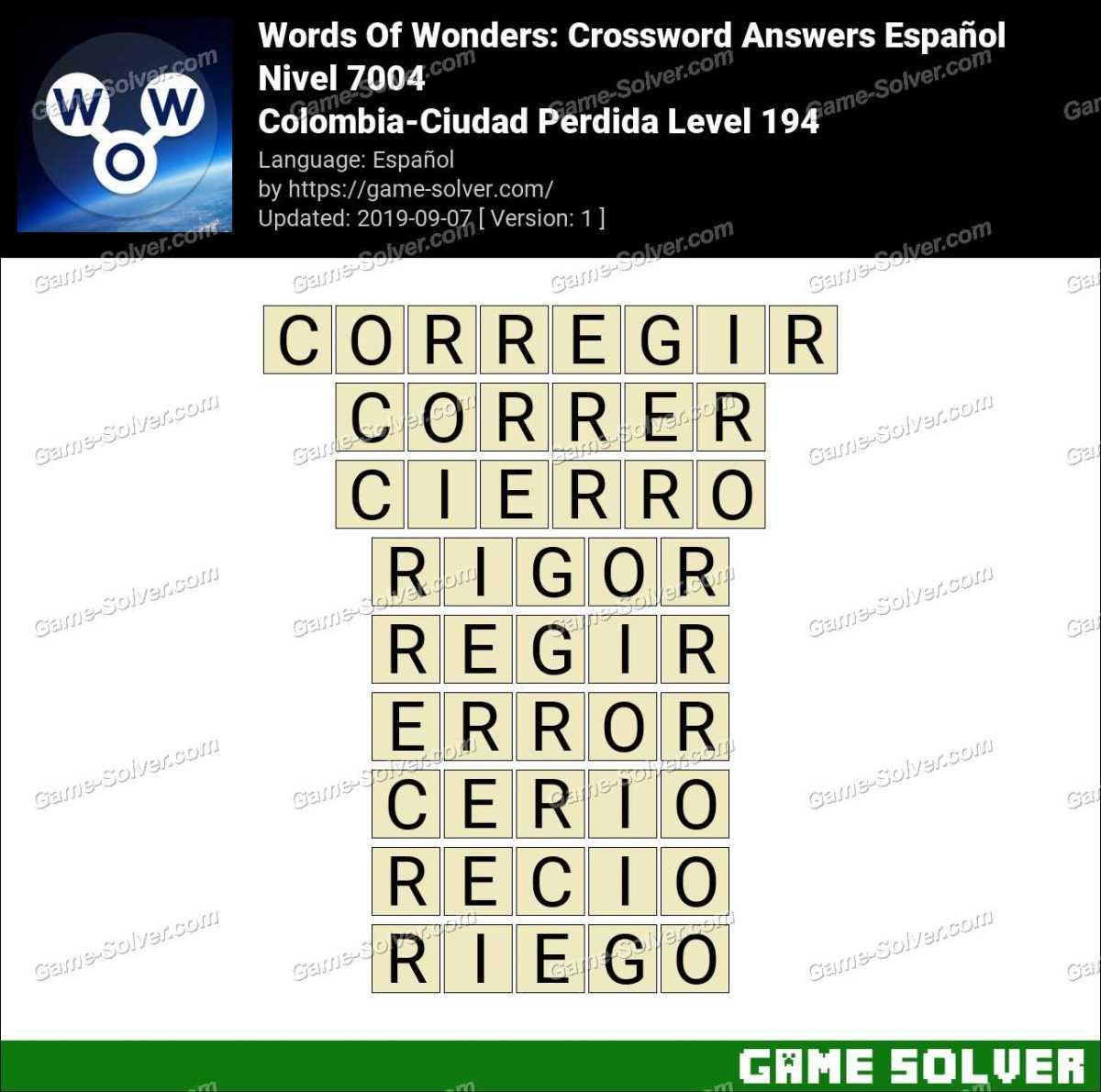 Words Of Wonders Colombia-Ciudad Perdida Level 194 Answers
