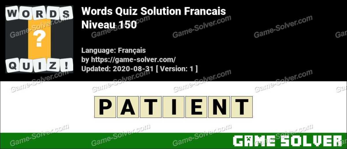 Words Quiz Francais Niveau 150