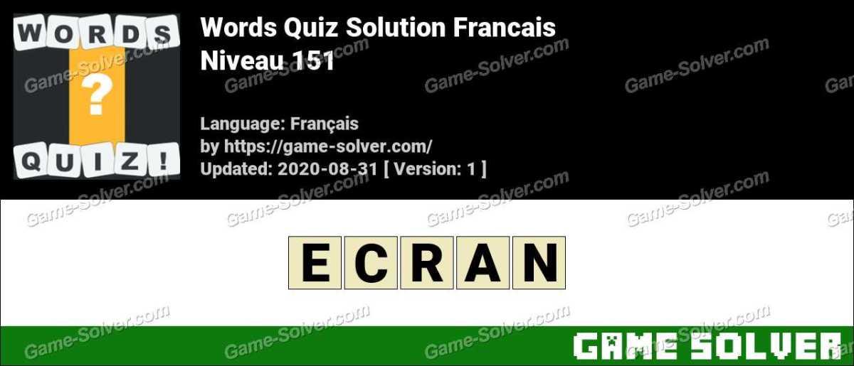 Words Quiz Francais Niveau 151