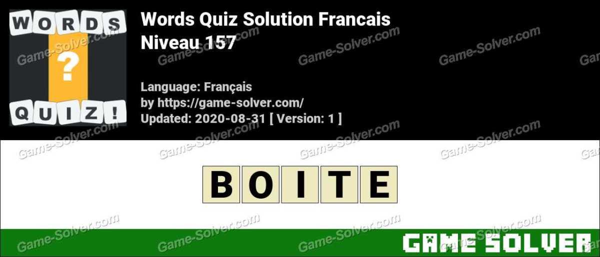Words Quiz Francais Niveau 157