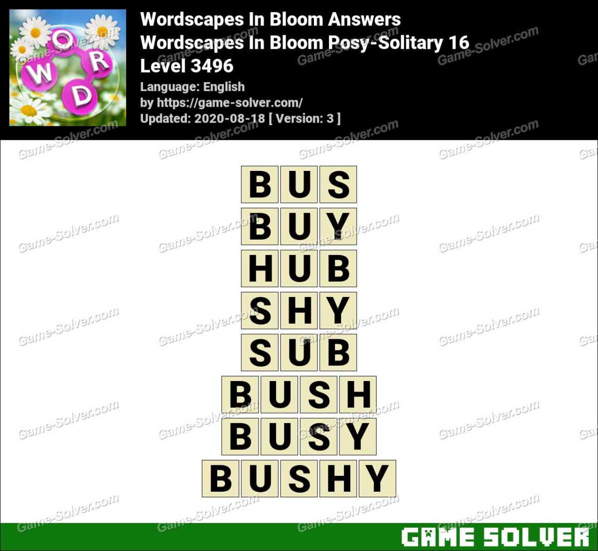 Wordscapes In Bloom Posy-Solitary 16 Answers