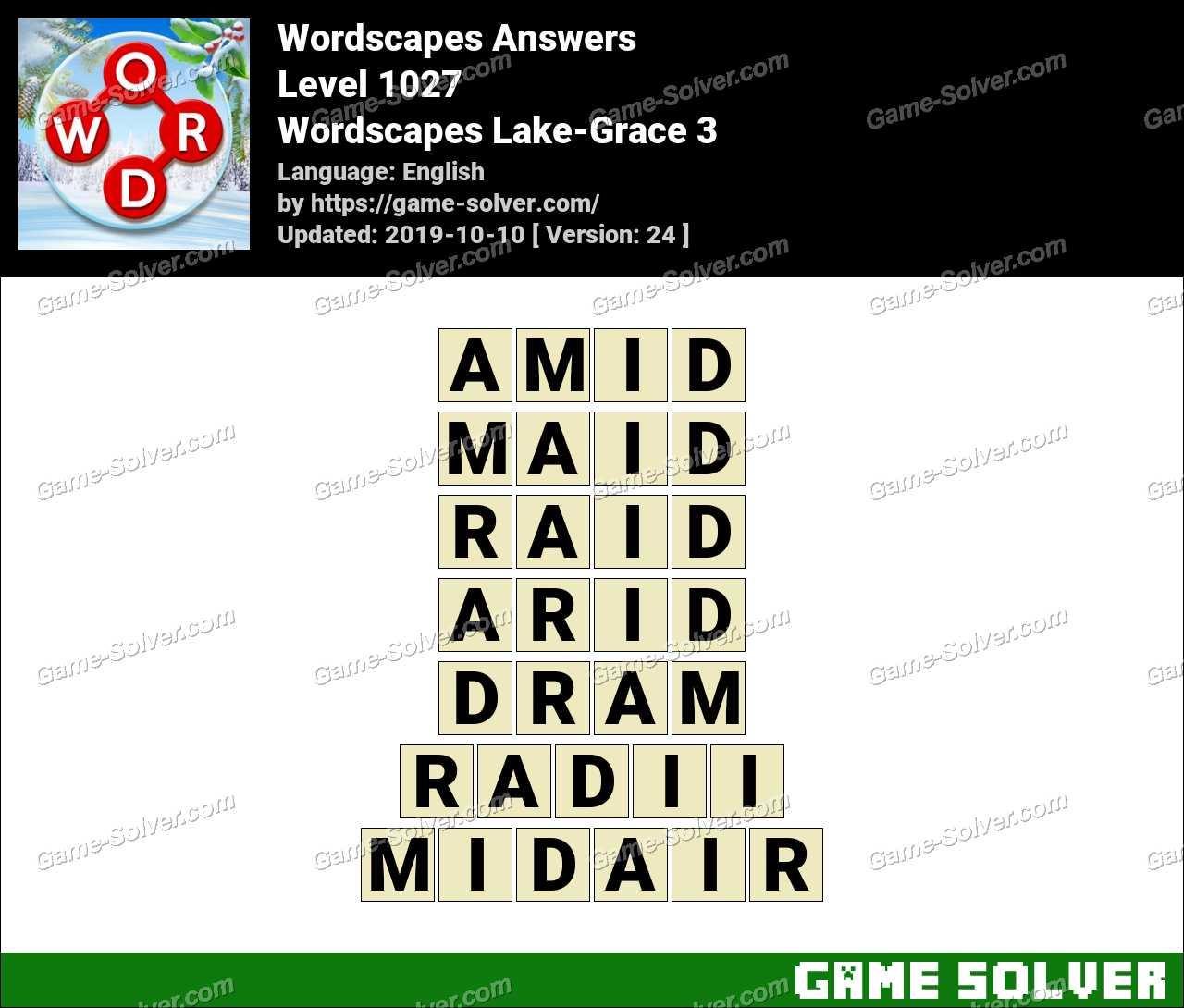 Wordscapes Lake-Grace 3 Answers
