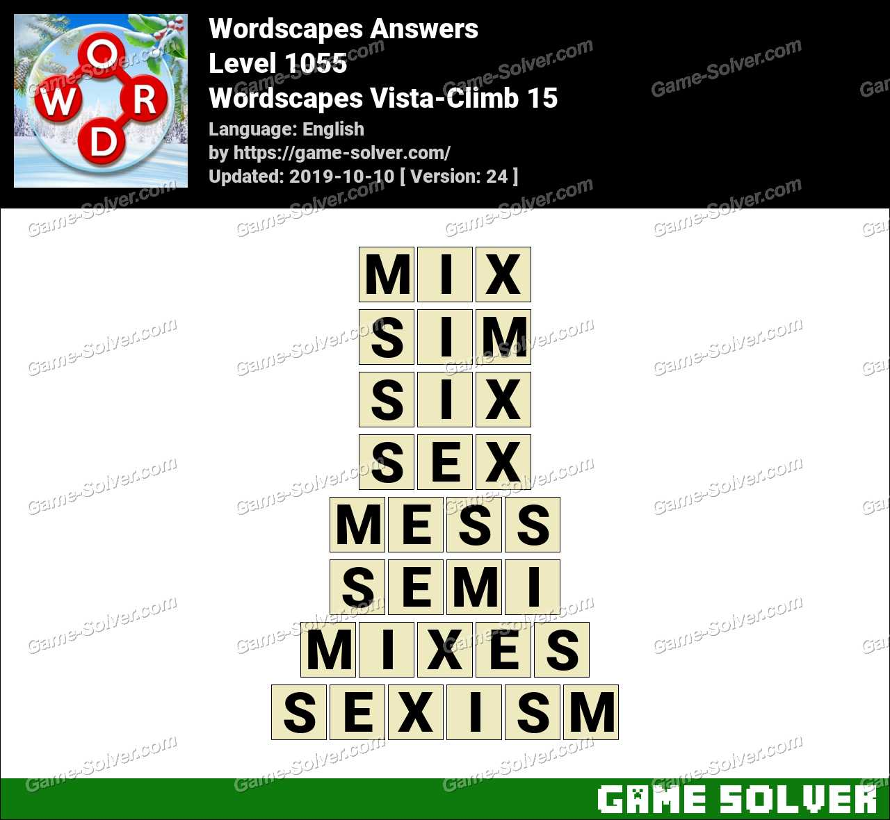 Wordscapes Vista-Climb 15 Answers