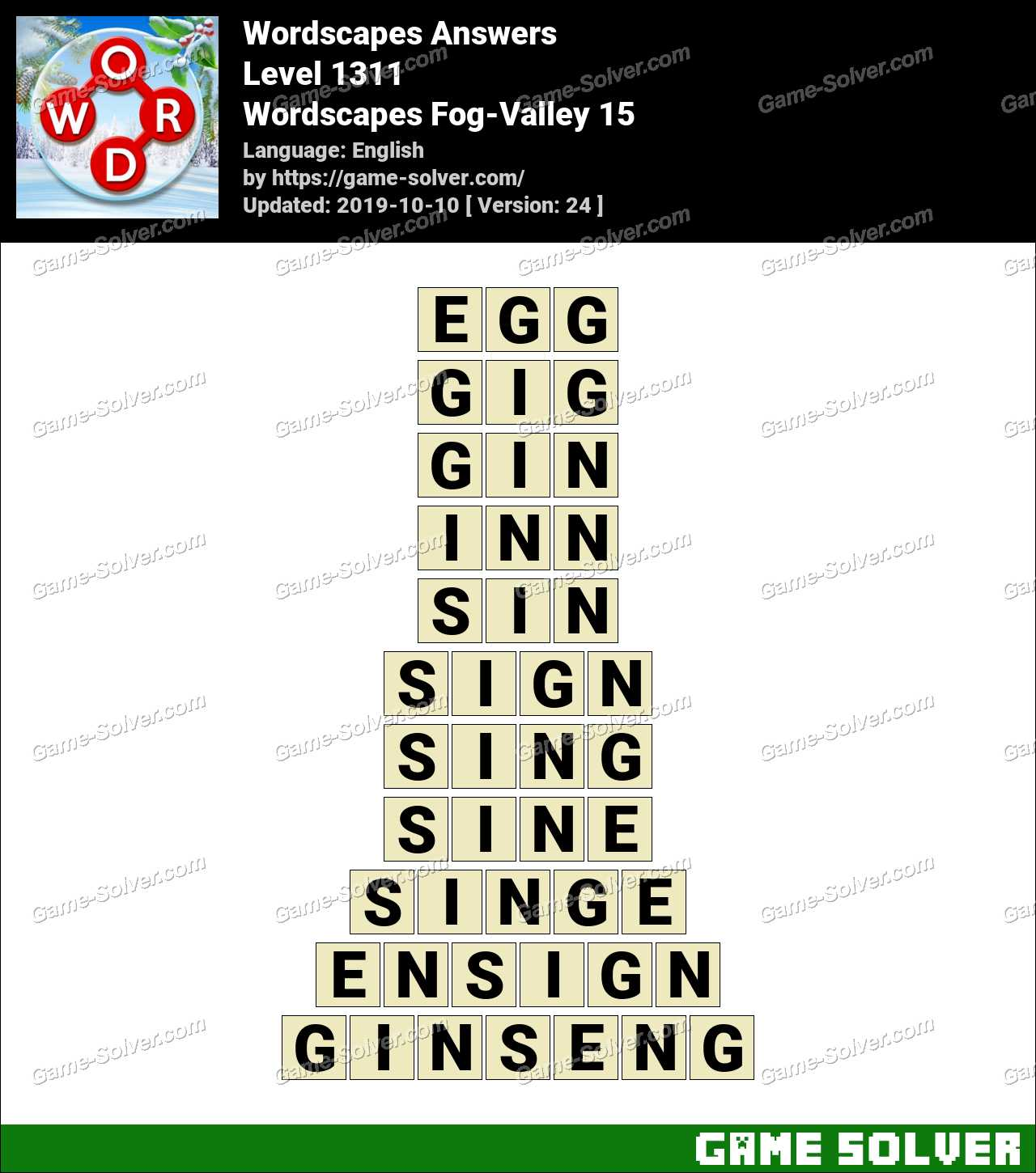 Wordscapes Fog-Valley 15 Answers