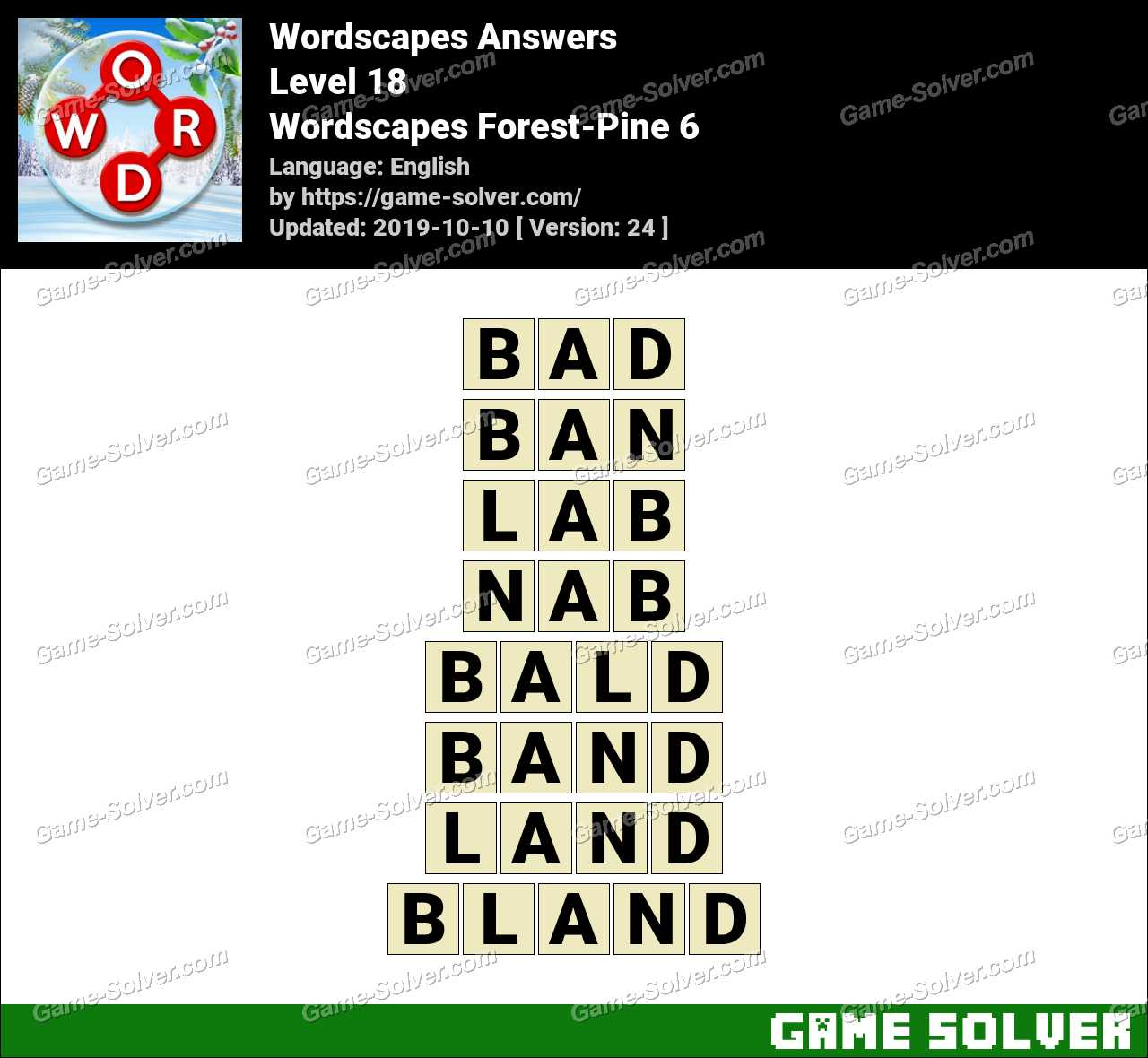 Wordscapes Forest-Pine 6 Answers