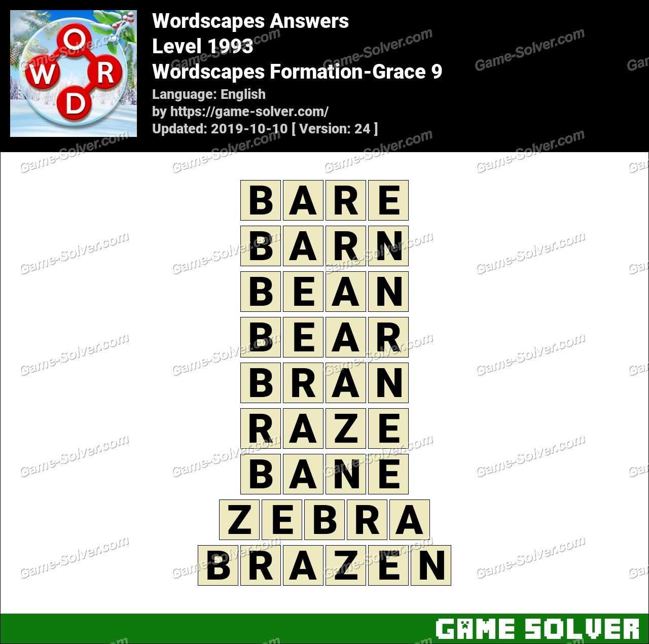 Wordscapes Formation-Grace 9 Answers