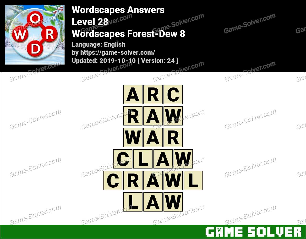 Wordscapes Forest-Dew 8 Answers