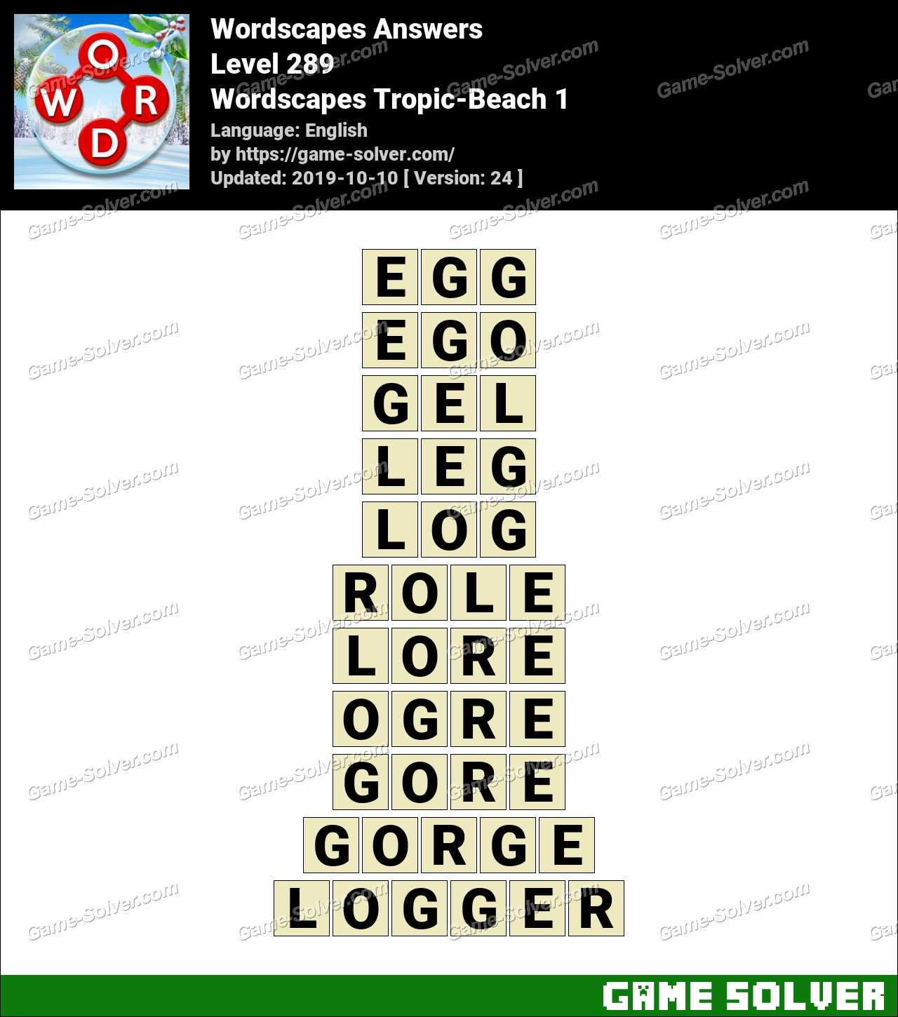 Wordscapes Tropic-Beach 1 Answers