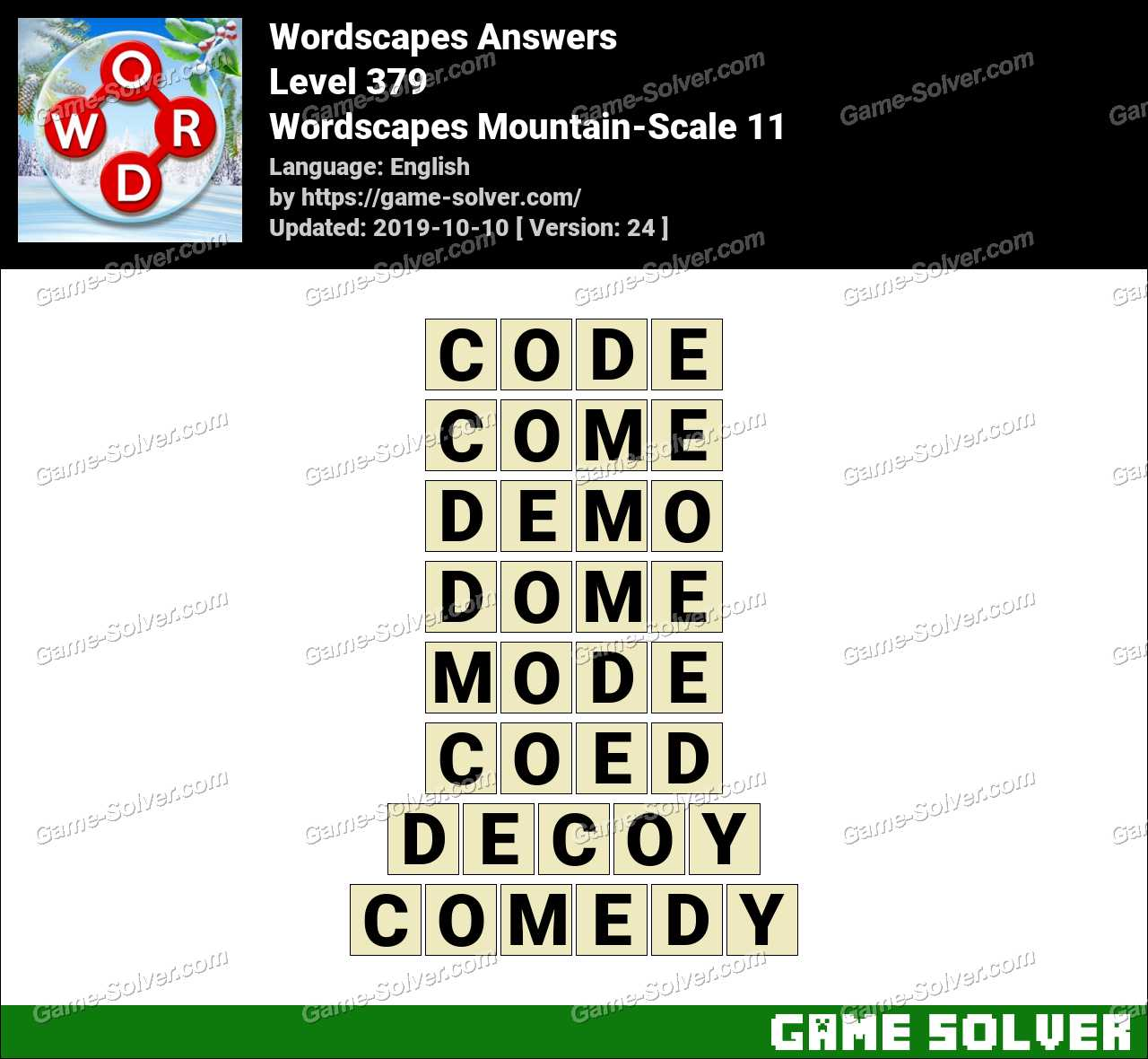 Wordscapes Mountain-Scale 11 Answers