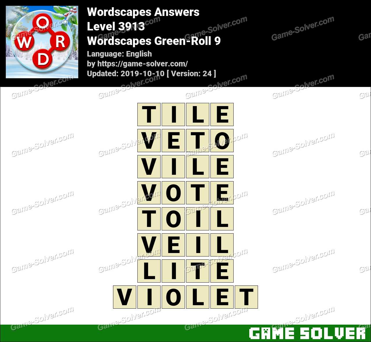 Wordscapes Green-Roll 9 Answers
