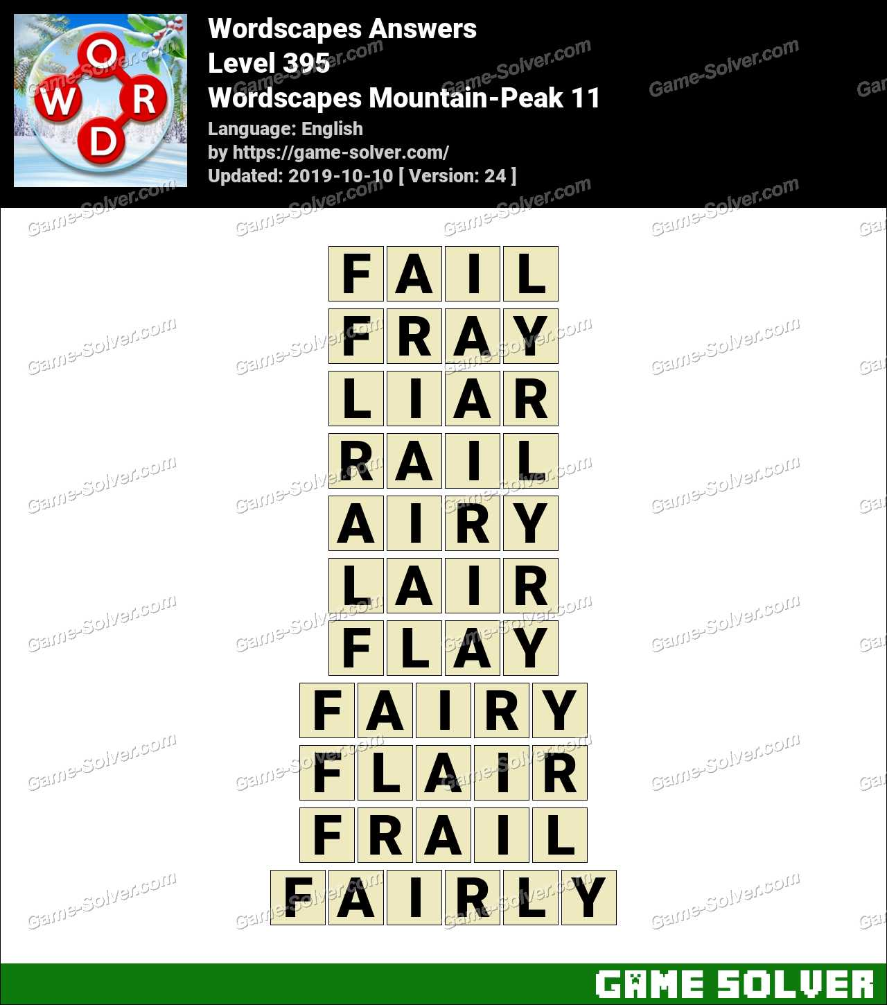 Wordscapes Mountain-Peak 11 Answers
