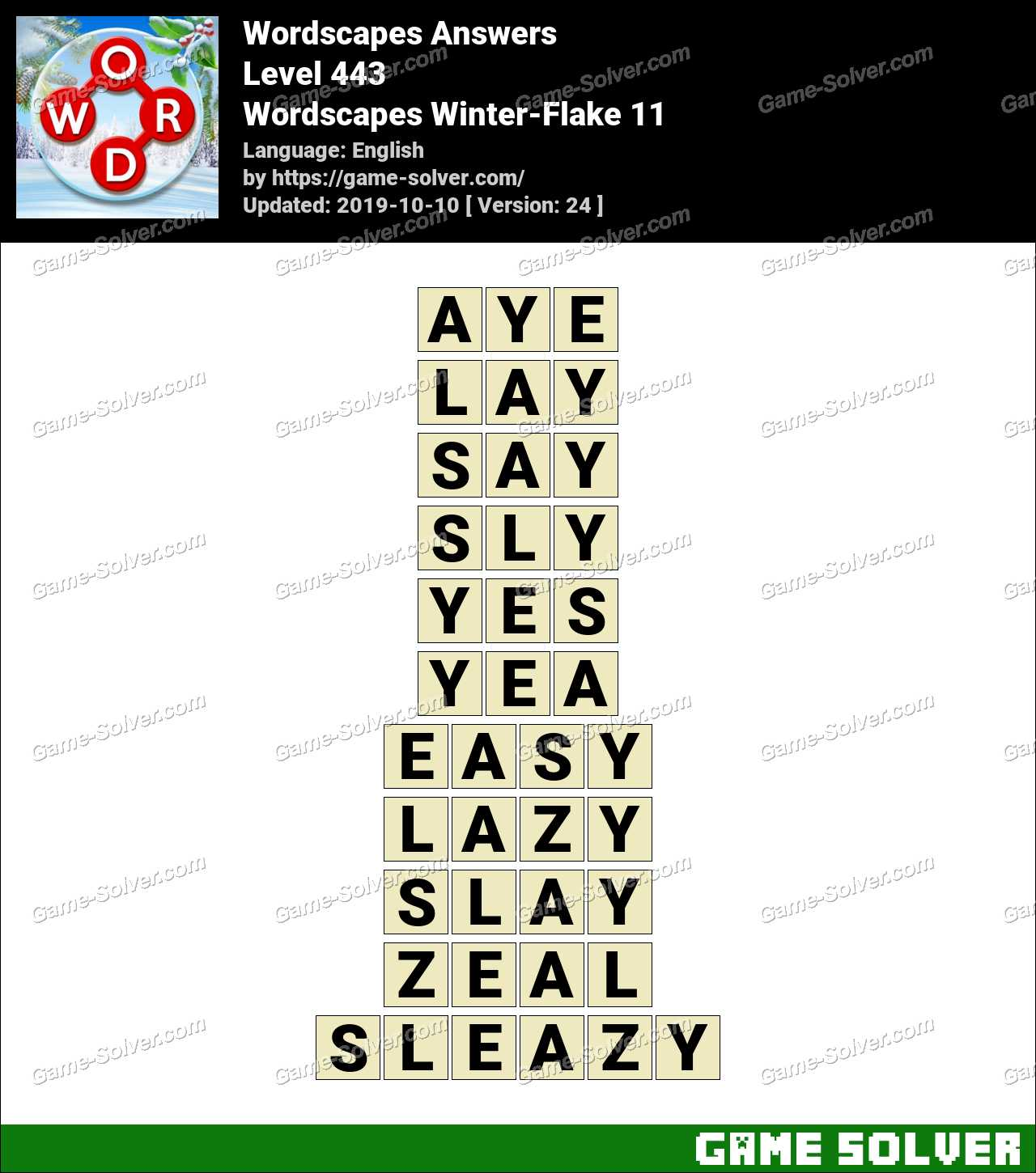 Wordscapes Winter-Flake 11 Answers