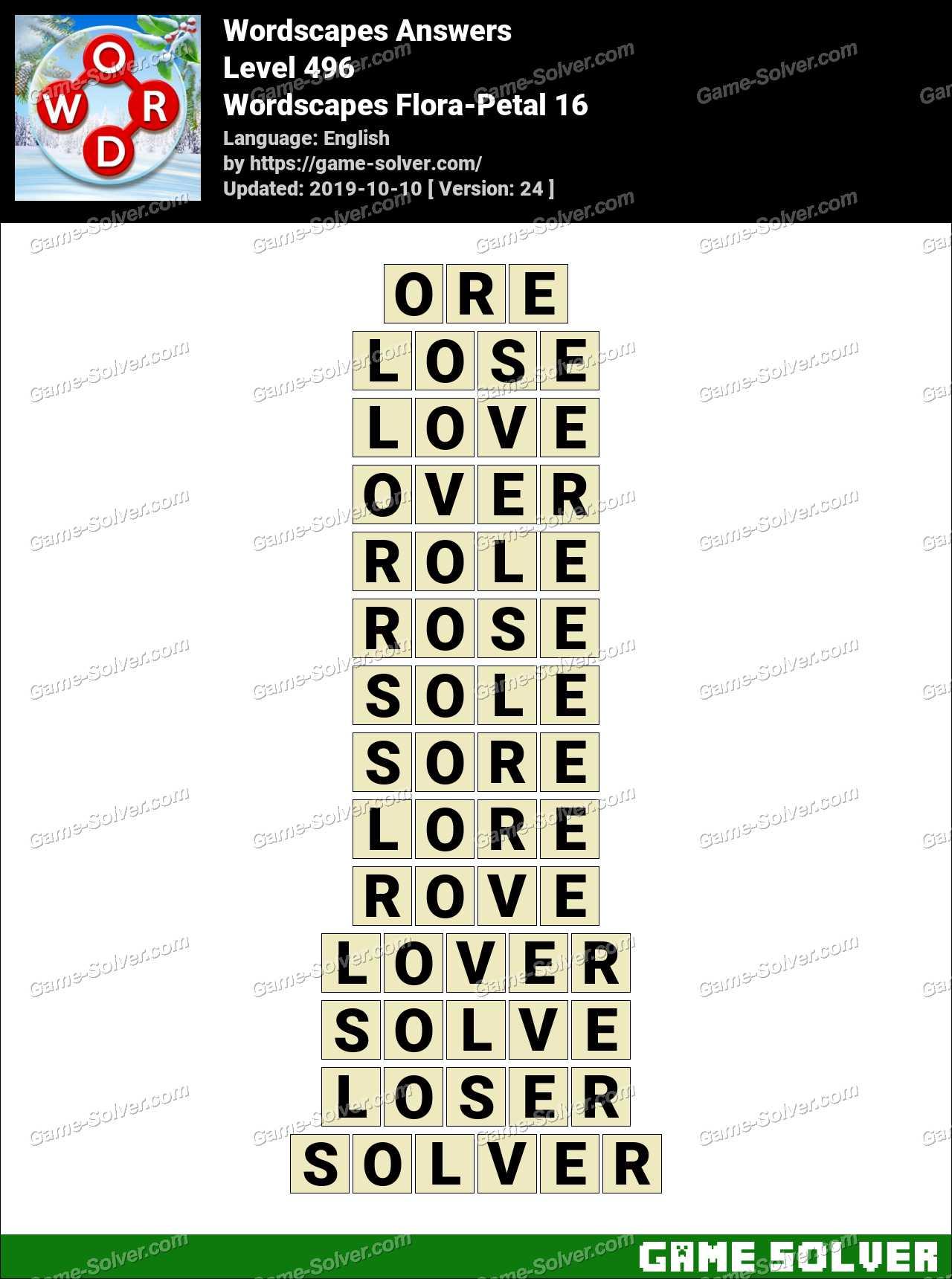Wordscapes Flora-Petal 16 Answers