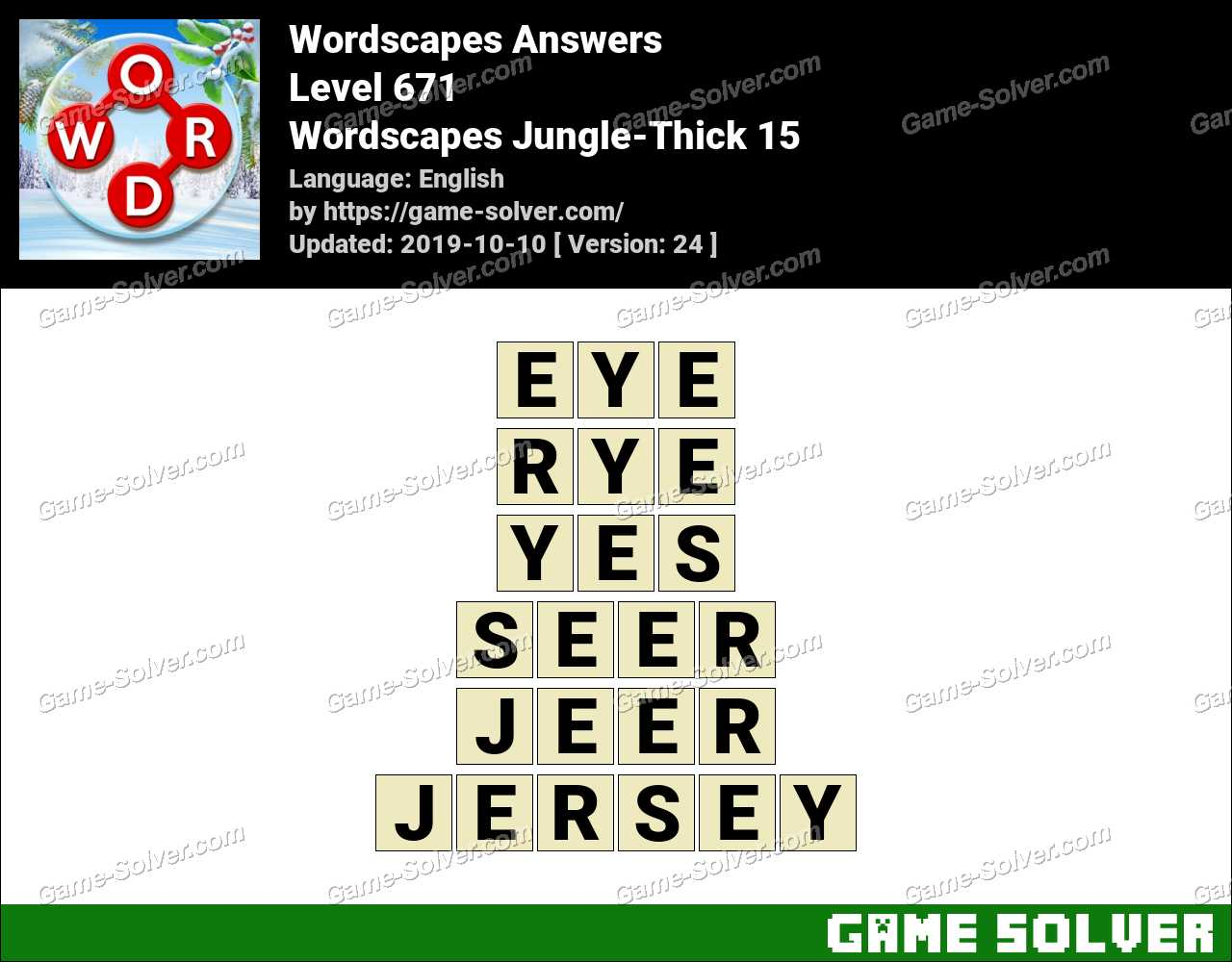Wordscapes Jungle-Thick 15 Answers