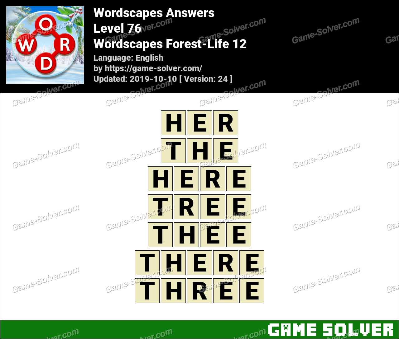 Wordscapes Forest-Life 12 Answers
