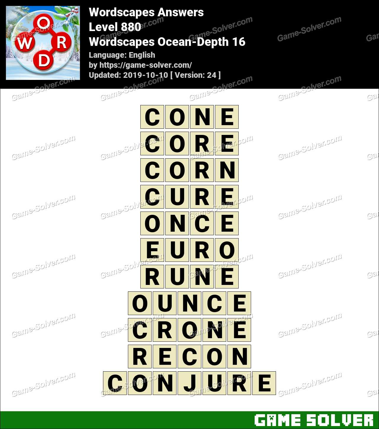 Wordscapes Ocean-Depth 16 Answers