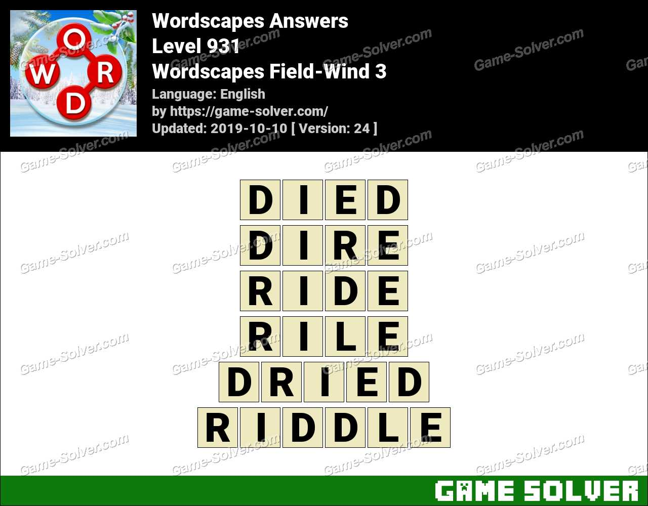 Wordscapes Field-Wind 3 Answers