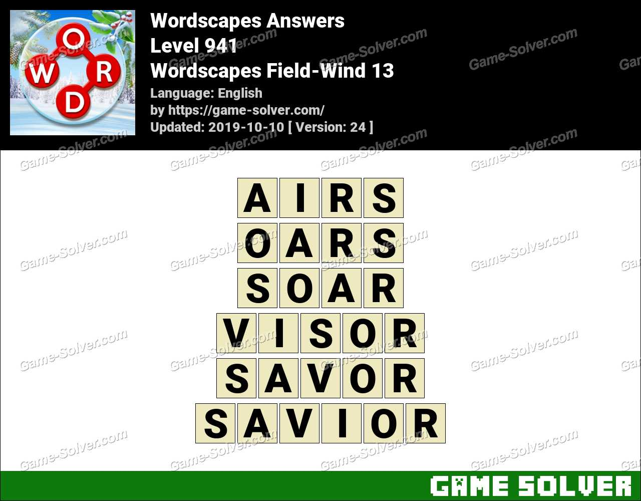 Wordscapes Field-Wind 13 Answers