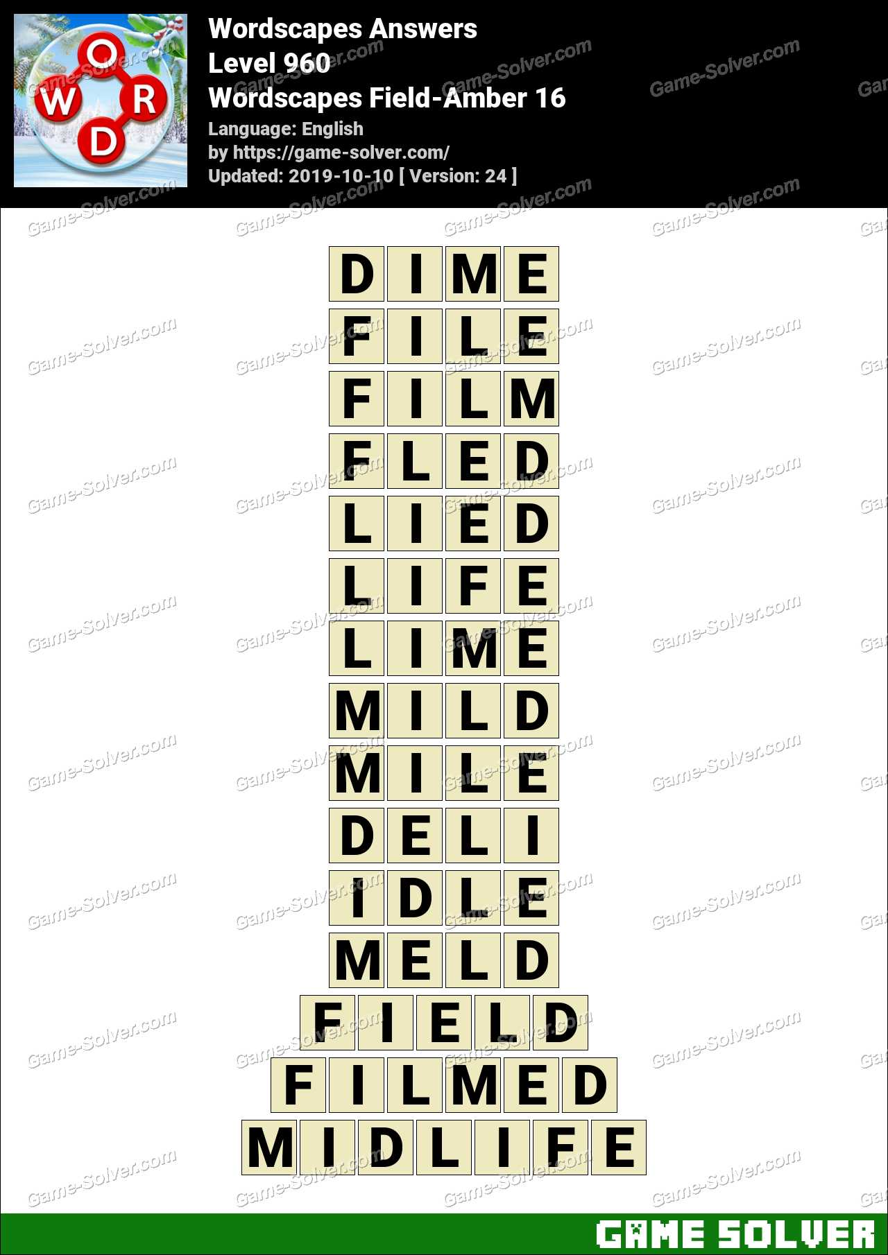 Wordscapes Field-Amber 16 Answers