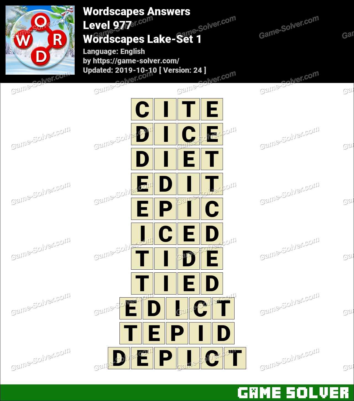 Wordscapes Lake-Set 1 Answers